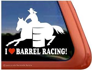 Amazon.com: I Love Barrel Racing! Barrel Horse Trailer Vinyl Window