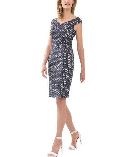 Comma Damen Etui Kleid, Mini, Gr. 34 (Herstellergröße: 34), Mehrfarbig (blue AOP)