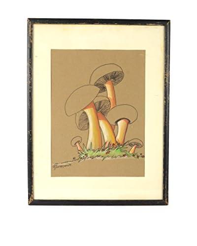 Uptown Down 1970 Framed Mushroom Art