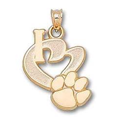 Clemson University I Heart Paw 3 4 - 14K Gold by Logo Art