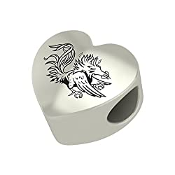 South Carolina Gamecocks Heart Bead Fits Most Pandora Style Charm Bracelets