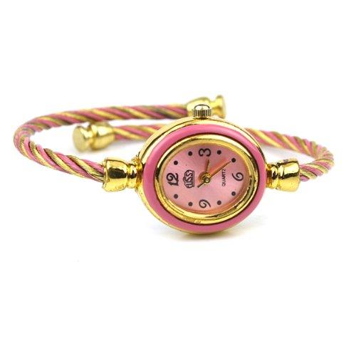 BestOfferBuy Womens Gold Classic Twisted Band Bracelet Round Wrist Watch Pink