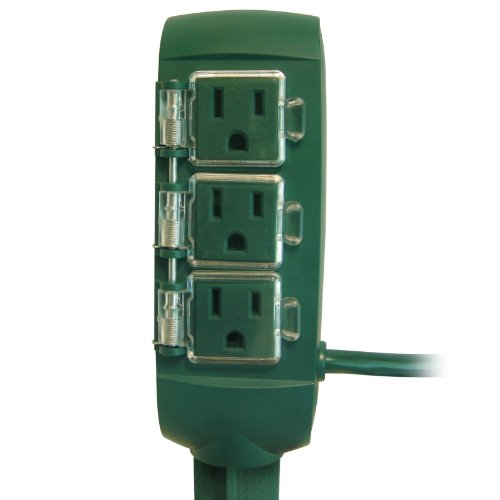 Prime Wire & Cable Pb801116 3-Outlet Green Power Stake With 6-Feet Cord
