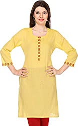 Vedanta Women's Regular Fit Cotton Kurta (KACTNCHNDEMB-YELLOW-L, Yellow, Large)