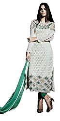 Desi Girl Fashion Store Women's Georgette Unstitched Dress Material (DGFS01_Green_Freesize)