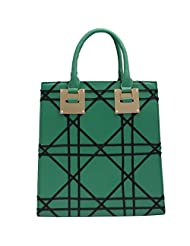 Super Drool Checks And Diamond Green Hand Held Bag For Women