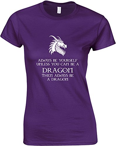 Always Be Yourself Unless You Can Be a Dragon, T-shirt Donna Stampato Purple/white L = 42-44