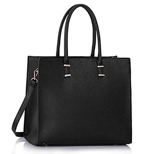 Damen-Handtasche-Schultertasche-Tasche-Large-Umhngetasche-Entwerfer-Shopper-Henkeltasche-Neu-Schwarz