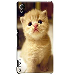 Omnam Beautiful White Cat Printed Designer Back Cover Case For Sony Xperia Z4