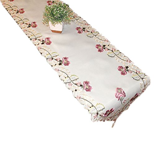 Pretty Flower Embroidery Table Runner Country Table Cover 68''