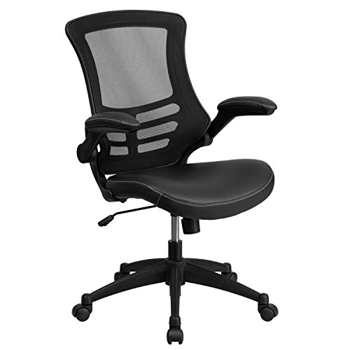 Mid-Back Black Mesh Swivel Task Chair with Leather Padded Seat and Flip-Up Arms Arm Swivel Office