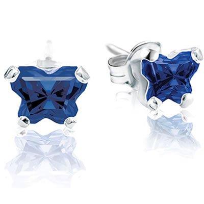 Jewelry Locker Bfly(tm) Sterling Silver and CZ September Birthstone Teen Earrings