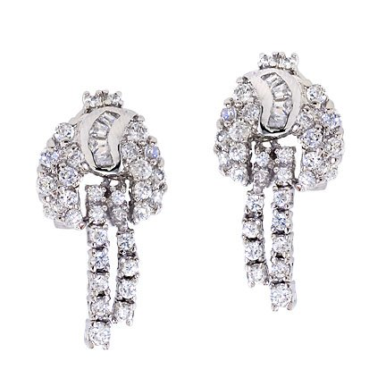 Cubic Zirconia Platinum Over Sterling Silver Earrings
