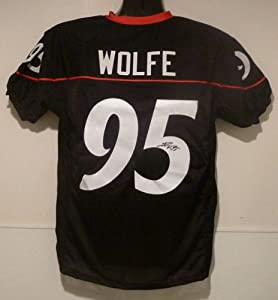 Derek Wolfe Autographed Cincinnati Bearcats black size XL Jersey by DenverAutographs