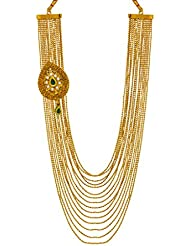 Bindhani Traditional Green Kundan Antique Gold Plated Multi-Strand Necklace For Women & Girls