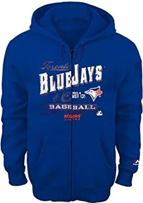 Toronto Blue Jays Majestic Mens Plate Appearances Full Zip Hoodie Big Sizes
