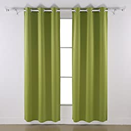 Deconovo Room Darkening Thermal Insulated Blackout Grommet Window Curtain Panel For Bedroom, Light Green,42x84-Inch,1 Panel