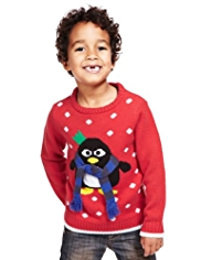 Penguin Intarsia Knitted Jumper