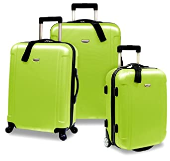 Travelers Choice Freedom 3 Piece Lightweight Hard-Shell Spinning Rolling Luggage Set, Apple Green, Large