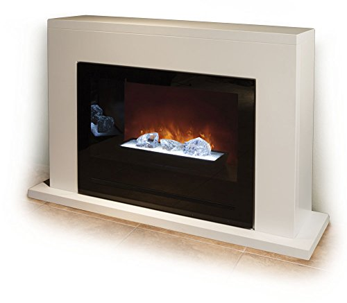 Modern Flames Home Fire Series Built-In Electric Fireplace With Glass Set, Black Glass Side Panels, And White Cabinet