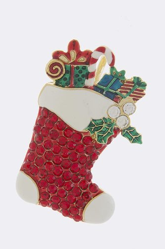 Trendy Fashion Jewelry Red Christmas Sock Brooch By Fashion Destination | (Multi)