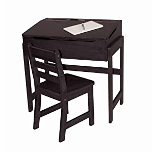 Lipper International Child's Slanted Top Desk and Chair, Espresso