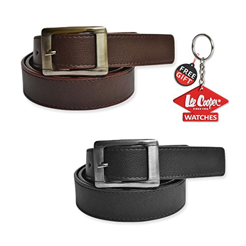 Mango People Combo Set of 2 Belt with FREE GIFT LEECOOPER KEY CHAIN For Men