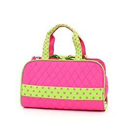 Belvah Quilted Solid 3pc Cosmetic Bag - Fuchsia/Lime