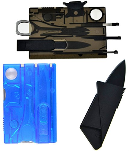 2-Pk Multi-Function Swiss Army Knife Credit Card Size Pocket Tool by One Planet, Thin & Light, Great Survival Essential For Outdoor Camping, Comes in Blue & Black w/ Bonus Credit Card Knife, Buy Now!