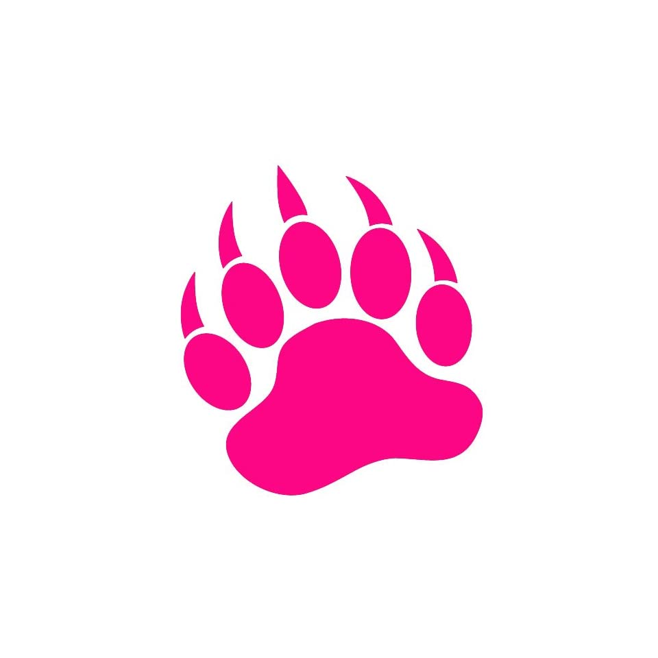 GRIZZLY BEAR PAW PRINT   Vinyl Decal Sticker 5 HOT PINK