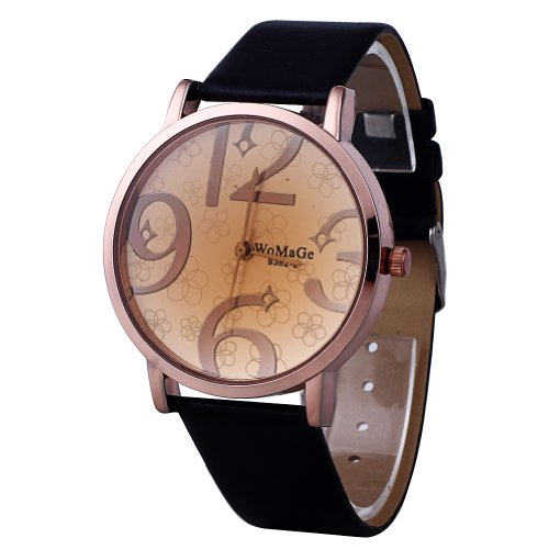 2013Newestseller Black Casual Mens Womens Big Number Leatheriod Wrist Point Watches