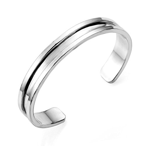 Stainless Steel Cuff Bangle Hair Tie Bracelet for Women Band Elegant (Silver)