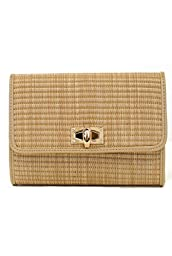 lcolette Bamboo Straw Clutch Bag With Metal Strap hd2011 (NATURAL)