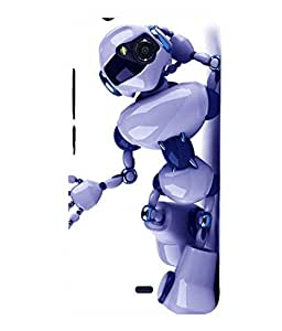 printtech Robot Cool Swag Back Case Cover for MicromaxBolt Q335