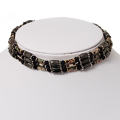 Black Glass Crystal Magnetic Necklace - 90cm Total Length