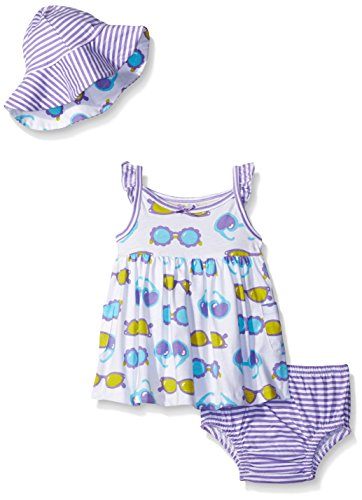 Gerber Baby Three-Piece Sundress, Diaper Cover and Hat Set, Sunglasses, 6-9 Months
