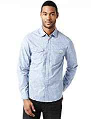 North Coast Slim Fit Pure Cotton Reverse Print Shirt
