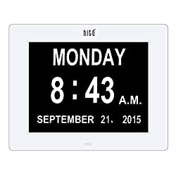 HITO Super Clear Desk Wall Clock w/ Calendar, Day of the Week - 8 inches (White)
