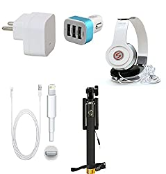 13Tech Premium Quality + Proper 1.5 Amp USB Charger + 1.5 meter Copper Embedded USB Cable (Data Transfer + Charging) + VM 46 3.5 mm Jack Headphones + 3 Jack USB Car Charger + Aux Enabeled Selfie (Monopod) Compatible With Apple Iphone 6S Plus