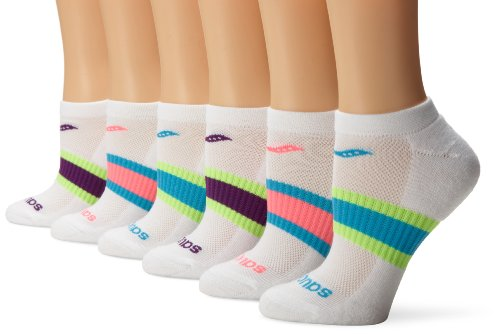 Saucony Women's 6 Pack Performance Arch Stripe No Show Socks, White Assorted, Medium