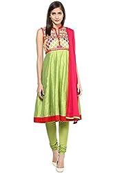 Trishaa by Pantaloons Women's Anarkali Churidar Kurta Dupatta ( 205000005645194, Green, X-Small)