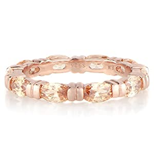 Rose Goldtone and Peach Marquise Cut CZ Eternity Band
