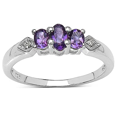 The Amethyst Ring Collection: Sterling Silver Amethyst 3 Stone Engagement Ring with White Topaz Set Shoulders.