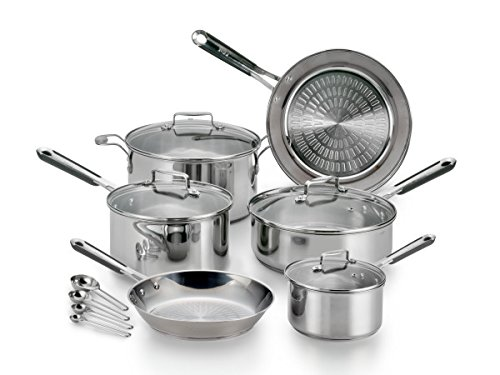 T-fal E759SE Performa Pro Stainless Steel Dishwasher Safe Oven Safe Cookware Set, 14-Piece, Silver (T Fal Cookware 10 Piece compare prices)