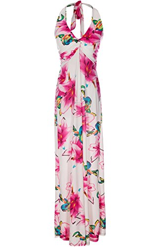 LUV Women's Summer Holiday Resort Beach Maxi Floral Dress White & Pink L(W3347