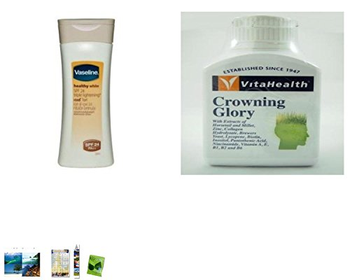 Special Set :Vaseline Healthy White Spf 24 Triple Lightening Body Lotion 200Ml Plus Vitahealth Crowning Glory 60 Tablets. [Get Free Herbal Lozenges]