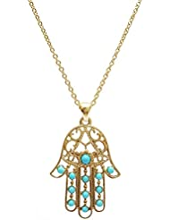 Mehrunnisa Gold Plated Hamsa Hand Carved Pendant Necklace With Chain For Girls (JWL724)