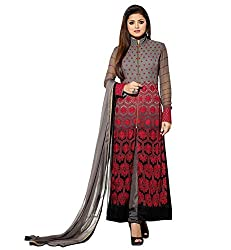 Awesome Fab Grey Faux Georgette Semi-Stiched Embroidered Salwar Suits