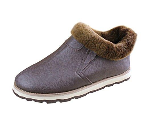 Brinny Mode Générique Hommee Adult Homme Bottes Boots en Cuir Respirants et Confortables Chaussures Bottes de Neige Chaude avec Fourrure Synthétiques Brun Foncé