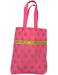 Amman Paper And Wedding Land Frog Type Pink Colour And Mango Printing With Gold Jerry Gift Bag Min Of 100only